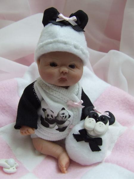 OOAK Sculpted Boo Boo Baby Chinese Panda Girl Polymer Clay Art Doll POS Eable