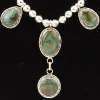 Southwestern Sterling Silver Turquoise 5pc Necklace Bracelet Earrings