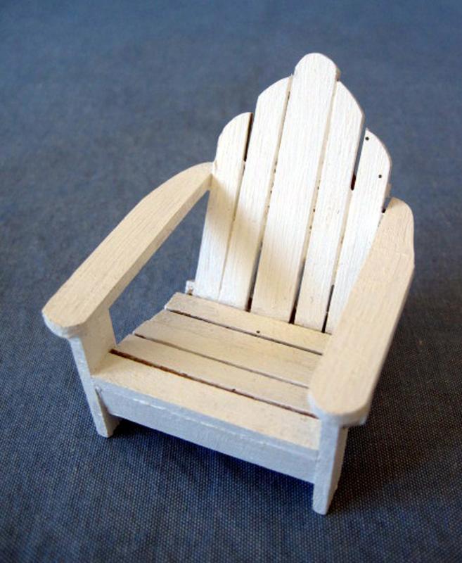 Mini Dollhouse Miniature Furniture White Wooden Wood Lawn Outdoor Garden Chair Ebay