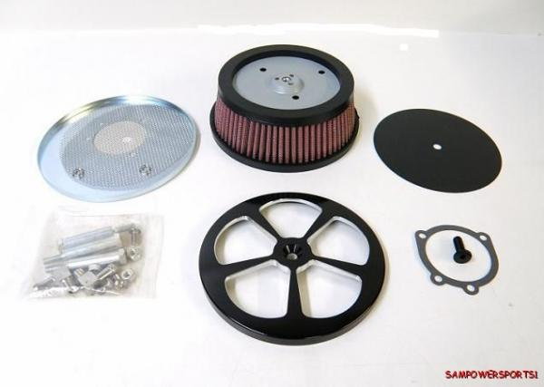High Flow Air Cleaner Harley : Billet high hi flow air cleaner filter kit black five