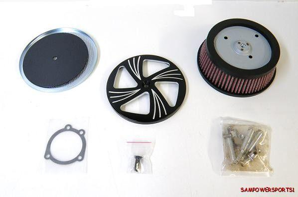 High Flow Air Cleaner Harley : Billet high hi flow air cleaner filter kit for harley