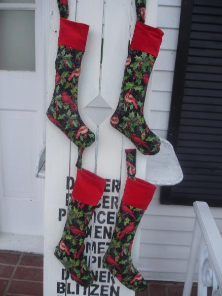 Red Bird Christmas Stocking Red Velvet Cuffs Home Decor