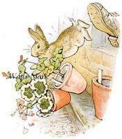 Vintage Peter Rabbit Christmas Quilting Fabric Block 5x7