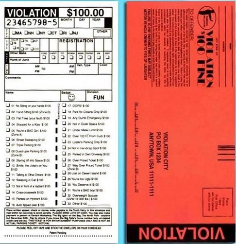 Details about 10 fake police parking tickets + 1 Fake Million Bill