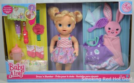 Baby Alive Dress N Slumber Doll Blonde Hair Drinks Wets