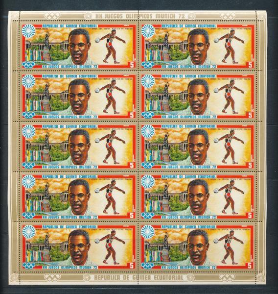 Guinea Ecuatorial 1972 Olympics Sport Munich Set Mnh X 10