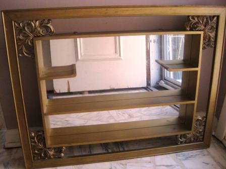 Vintage Turner Ornate Wood Shadow Box Shelf Mirror Wall