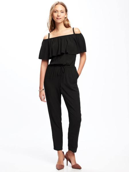 6c1551fb2df Item Description. For your consideration Black Ruffled Off Shoulder Jumpsuit  by Old Navy ...