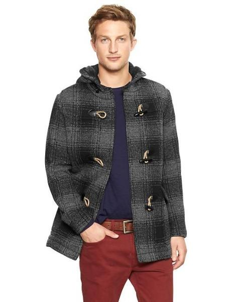 Gap XS Nwt Men's Grey Plaid Wool Duffle Toggle Hooded Jacket Coat ...