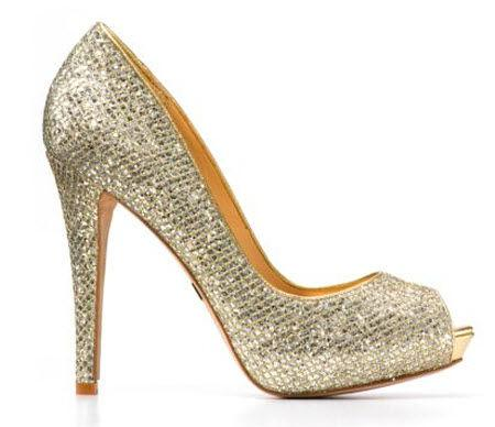 Badgley Mischka 9.5 New Gold Glitter Metallic Humbie II Open Toe