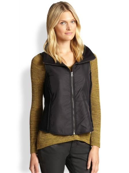 Eileen Fisher XL Nwt Black Stand Collar Boiled Wool Parka Vest ...