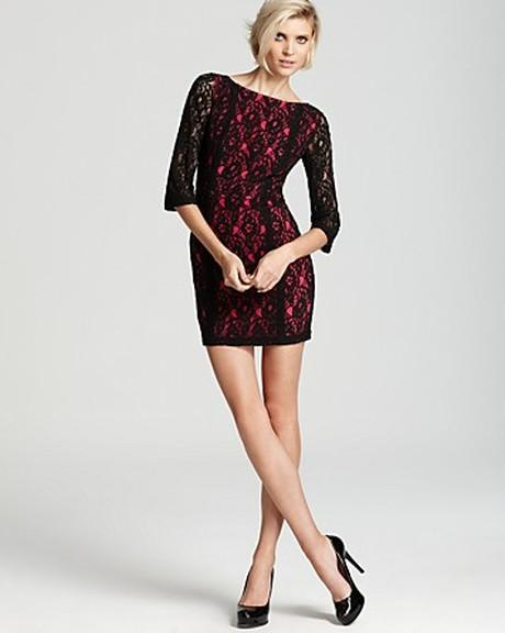 Details About Erin Fetherston 6 Nwt Black Neon Pink Fitted Lace Stretch Overlay Dress S 6