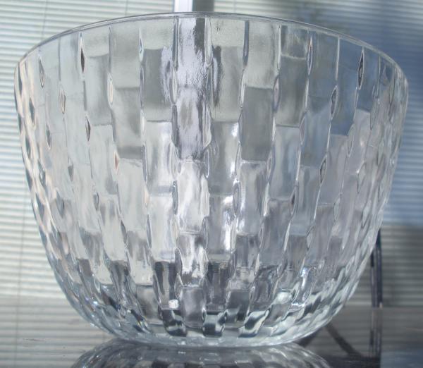 Vintage lattice basket weave glass centerpiece trifle bowl