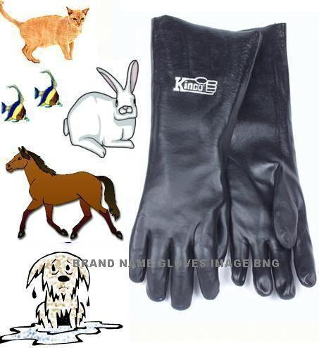 Long 18 PVC Dlx Gloves Pet Dog Cat Bathing Grooming