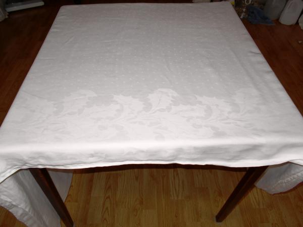 71x118 Vintage Antique White Irish Linen Double Damask