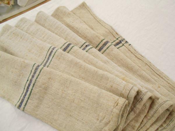 19x57 Vtg Antique Green Blue Stripe French Hemp Linen