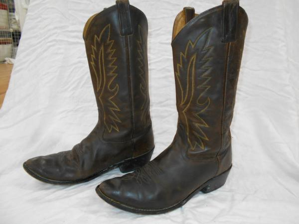 OLD WEST MENS DARK BROWN Leather CLASSIC STYLE Cowboy Boots SZ 10.5 EE