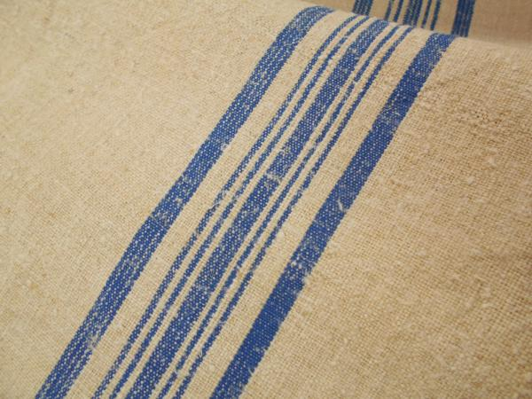 21 Quot Vtg Antique Indigo Blue Stripe Hemp Linen Feed Sack