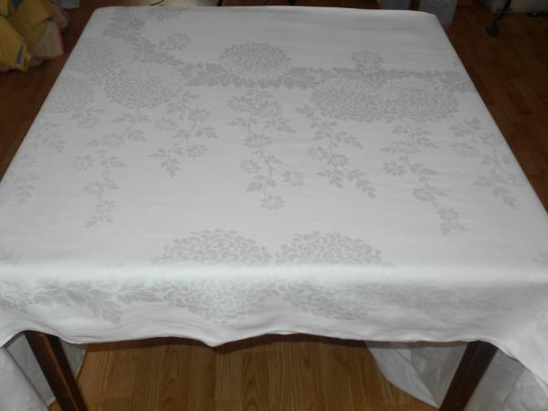 119x70 Vintage Antique Formal White Irish Linen Double
