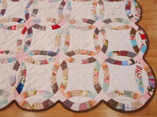 Vintage Antique Double Wedding Ring Hand Stitched Amp Quilted Queen Quilt 74x87 Ebay