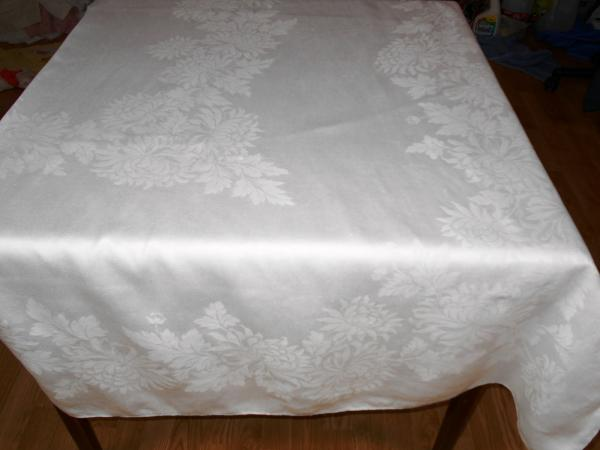 irish linen tablecloth 86x70 vintage antique formal dining white linen 1923