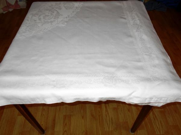 71x118 Vtg Antique White Irish Linen Double Damask