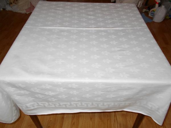 187x52 Vintage Antique Banquet Size White Cotton Damask