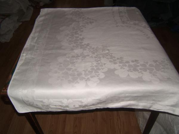 107x71 Vintage Antique Signed White Irish Linen Double