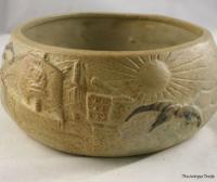 1930s Art Deco Vitry Ware Stoneware salad bowl Anglo Saxon maritime decorated