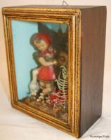 Vintage Italian Diorama Shadow Box of girl with geese