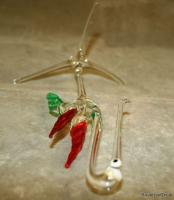 Exquisite Bohemian hand made art glass Stork Bird ornament 8.5 inches height