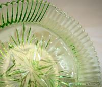1930s British Art Deco dish carved green Flint glass