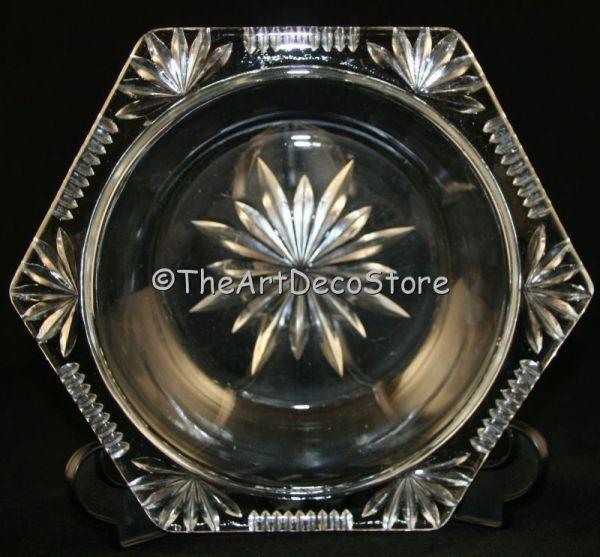 Antique Art Deco carved glass dish