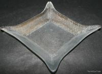 Vintage bluish clear pressed glass organic shaped dish