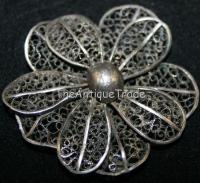 Antique Jewelry white metal hand made Brooch