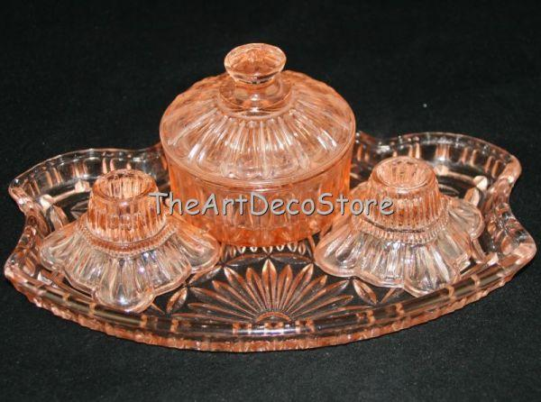 Antique Art Deco 30s pink glass dressing table set 4