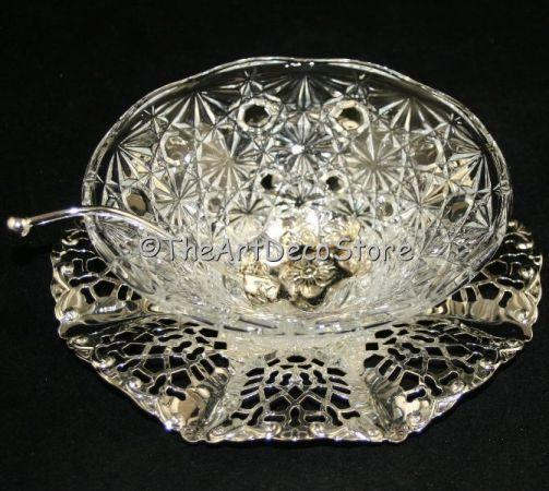 Art Deco crystal glass dish and spoon pierced chrome plated