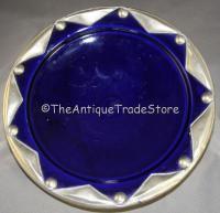 Vintage studio pottery metal clad Art Deco style dish
