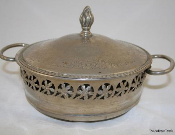 Antique British Art Deco silver plated pierced dish
