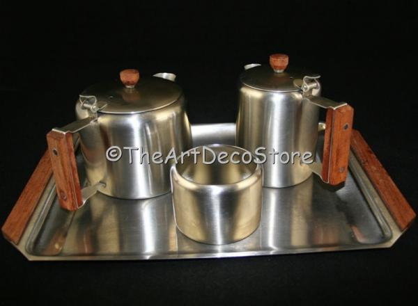 Art Deco Empire stainless Tea  Coffee set with tray