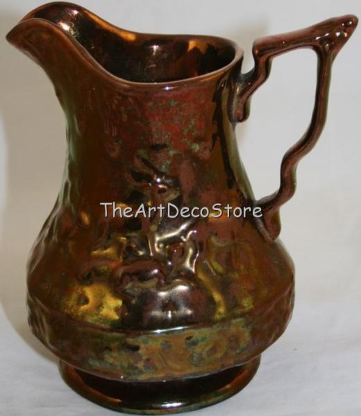 Superb Antique British 30s lustre ceramic Art Deco jug