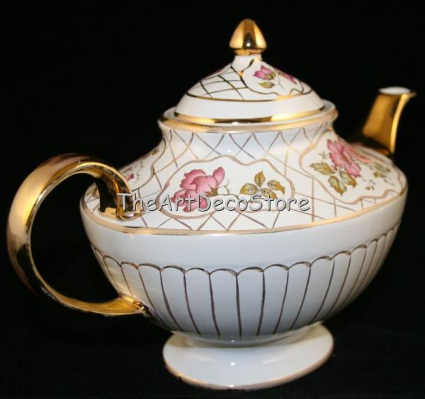 Antique Art Deco gilded Arthur Wood porcelain teapot