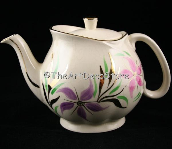 Antique Art Deco Gibsons gilded hand painted teapot