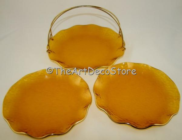 Custom eBay AArt Deco gilded Amber glass serving 3 dish set