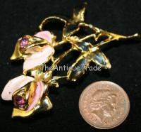 Vintage Pin Brooch roses enamel cubic zirconia sku1z
