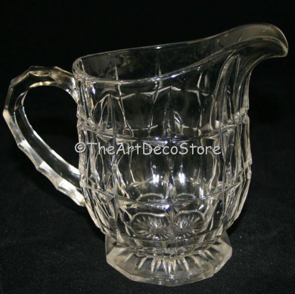 Antique Art Deco 30s pressed glass medium sized jug