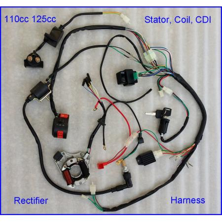 50cc 70cc 90cc 110cc 125cc wire harness wiring cdi assembly atv click here to enlarge