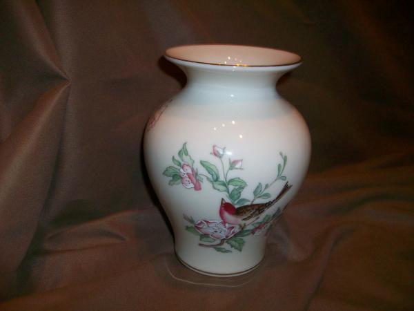 Lenox China Serenade Pattern Medium 6 Tall Vase Birds Cherry