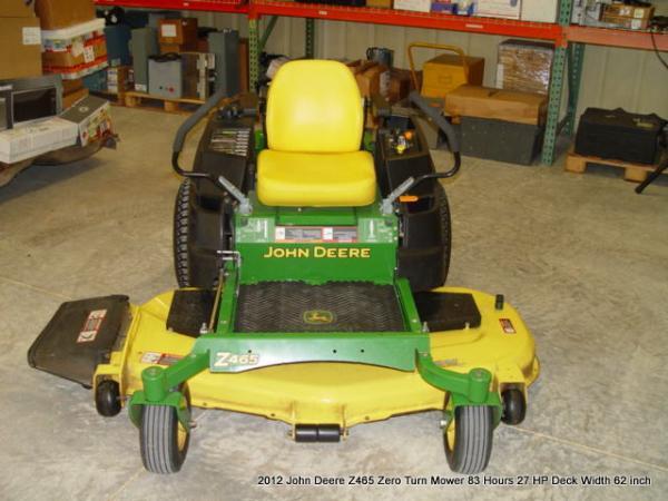 2012 John Deere Eztrak Z465 Zero Turn Mower 83 Hours 27 Hp Deck Width 62 Inch