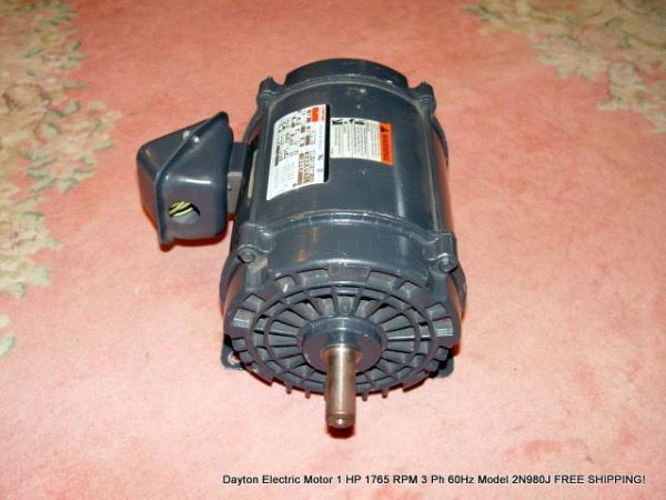 Dayton electric motor 1 hp 1765 rpm 3 ph 60hz model 2n980j for Dayton 1 3 hp electric motor